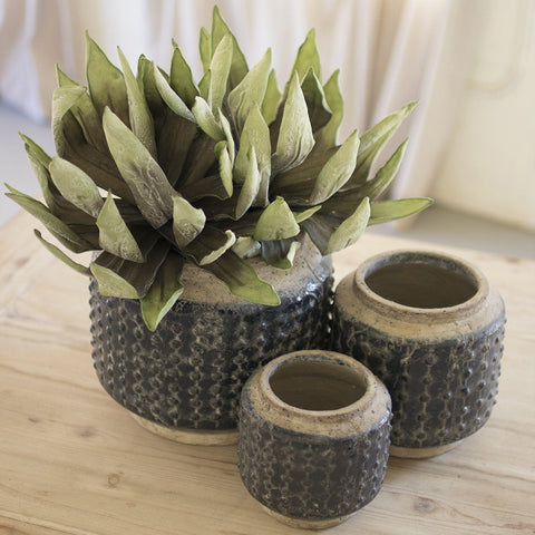 Dark Blue Knobby Ceramic Pots (Set of 3) - Cece & Me - Home and Gifts
