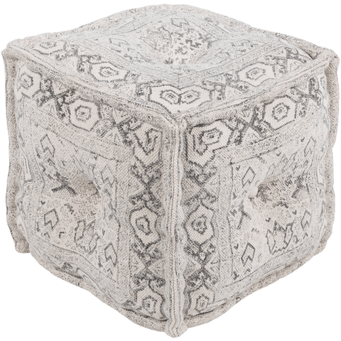 Daveed Pouf ~ White/Charcoal - Cece & Me - Home and Gifts