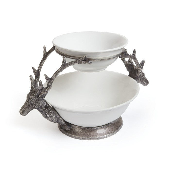 Deer Two Tier Bowl