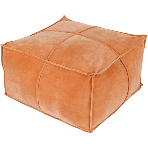 Delaney Velvet Pouf ~ Burnt Orange - Cece & Me - Home and Gifts