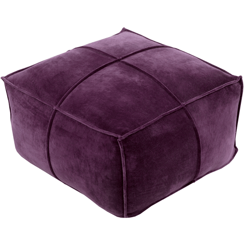 Delaney Velvet Pouf ~ Dark Purple - Cece & Me - Home and Gifts