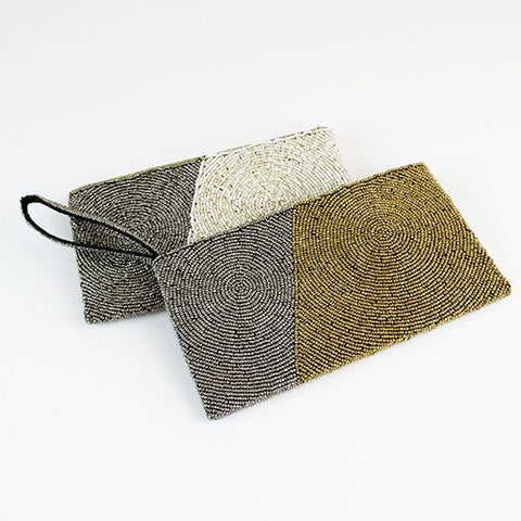 Image of Diagonal Block Wristlet Clutch ~ Grey & Gold - Cece & Me - Home and Gifts