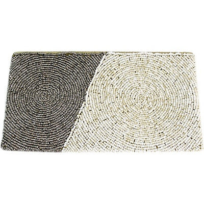 Diagonal Block Wristlet Clutch ~ Grey & Cream - Cece & Me - Home and Gifts