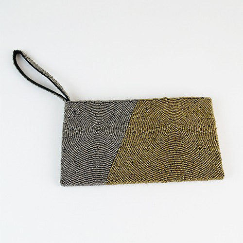 Diagonal Block Wristlet Clutch ~ Grey & Gold - Cece & Me - Home and Gifts