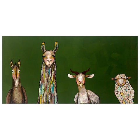 Donkey, Llama, Goat, Sheep Giclee Canvas ~ Dark Green - Cece & Me - Home and Gifts