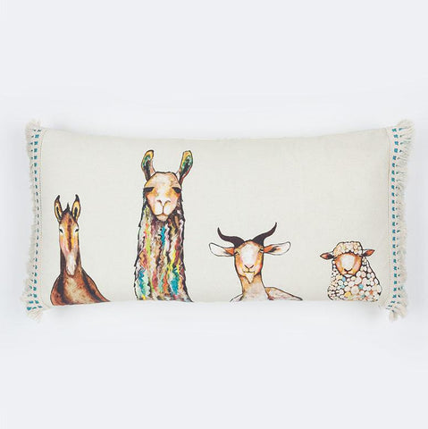 Image of Donkey, Llama, Goat, Sheep on Cream Pillow - Cece & Me - Home and Gifts