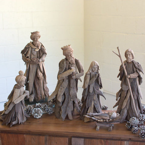 Driftwood Nativity Set (Set of 6) - Cece & Me - Home and Gifts