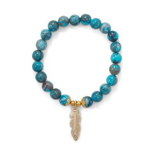 Dyed Agate Stretch Bracelet with Feather Charm - Cece & Me - Home and Gifts