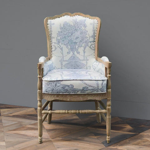 French Quarter Blue Provincial Fireside Chair - Cece & Me - Home and Gifts