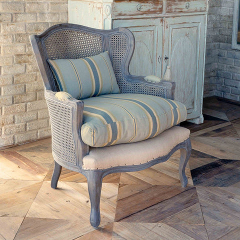 Cane Wingback Lounge Chair with Blue Linen Stripe Cushion - Cece & Me - Home and Gifts