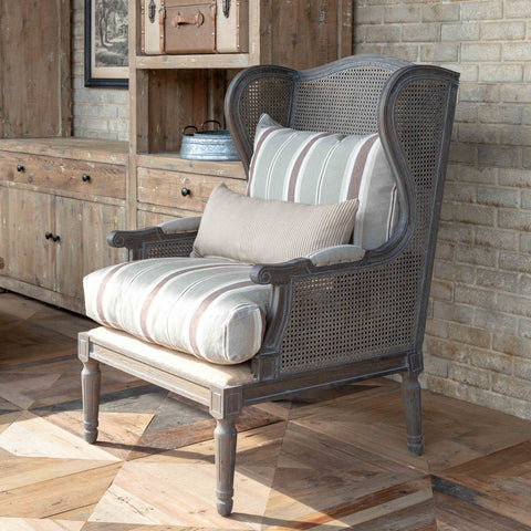 Cane Wingback Lounge Chair with Brown Linen Stripe Cushion - Cece & Me - Home and Gifts