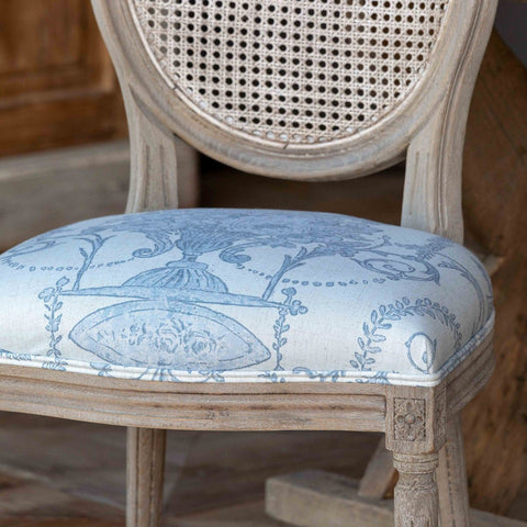 French Blue Bouquet Cane Back Dining Chair - Cece & Me - Home and Gifts