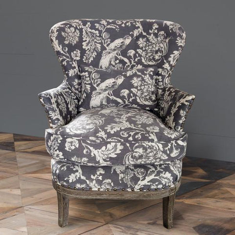 Grey Bird Toile Upholstered Arm Chair - Cece & Me - Home and Gifts