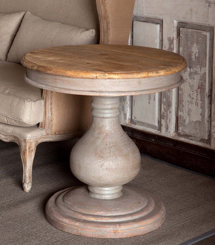 Vintaged Wooden Pedestal Table - Cece & Me - Home and Gifts