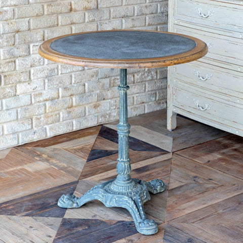 Zinc Topped Round Café Table - Cece & Me - Home and Gifts