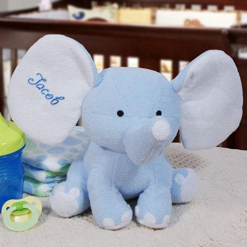 Embroidered Blue Plush Elephant - Cece & Me - Home and Gifts