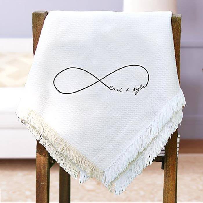 Infinity Embroidered Couples Throw - Cece & Me - Home and Gifts