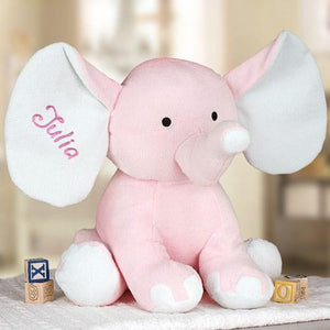 Embroidered Plush Elephant ~ Large Pink - Cece & Me - Home and Gifts