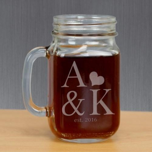 Engraved Couples Established Mason Jar - Cece & Me - Home and Gifts