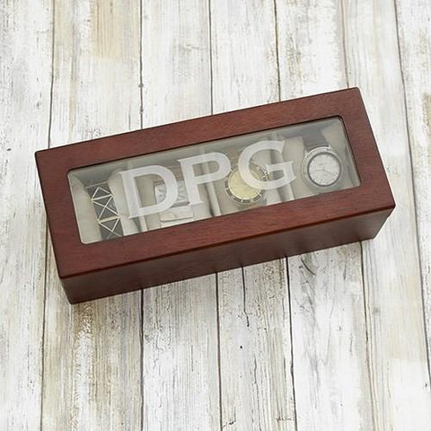 Engraved Initials Brown Watch Box - Cece & Me - Home and Gifts