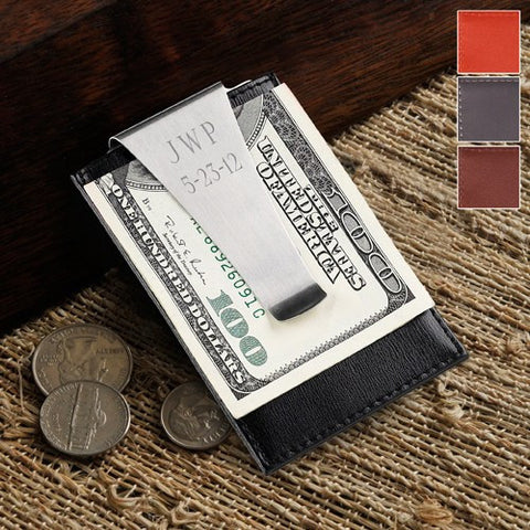 Engraved Leather Money Clip Wallet Card Holder - Cece & Me - Home and Gifts