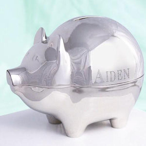 Engraved Silver Piggy Bank - Cece & Me - Home and Gifts