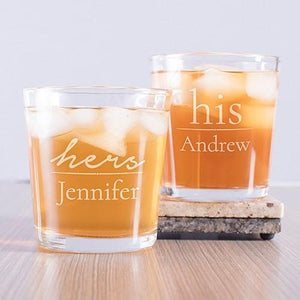 Engraved His and Hers Couple's Rocks Glass Set - Cece & Me - Home and Gifts