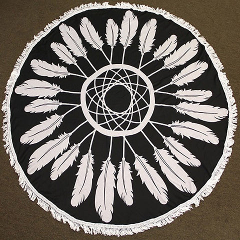 Feather Round Beach Towel ~ Black - Cece & Me - Home and Gifts