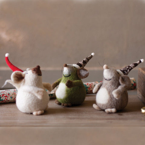 Felt Mice With Christmas Hats (Set of 3) - Cece & Me - Home and Gifts