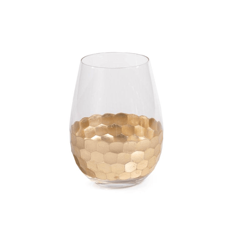 Fez Cut Stemless Wine Glass with Gold Leaf (Set of 12) - Cece & Me - Home and Gifts