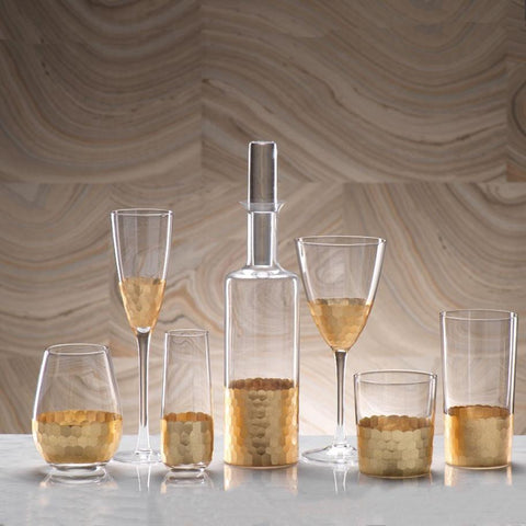 Image of Fez Cut Glass Highball with Gold Leaf (Set of 12) - Cece & Me - Home and Gifts