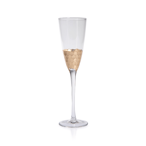 Fez Cut Glass Champagne Flute with Gold Leaf (Set of 12) - Cece & Me - Home and Gifts