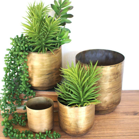 Image of Flower Pots ~ Aged Brass Finish (Set of 4) - Cece & Me - Home and Gifts