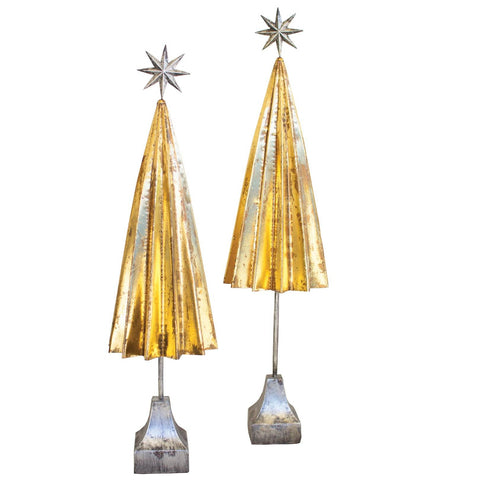 Folded Gold Metal Trees With Silver Star (Set of 2) - Cece & Me - Home and Gifts