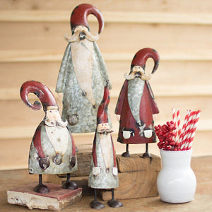 Galvanized And Painted Santas (Set of 4) - Cece & Me - Home and Gifts