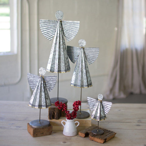 Galvanized Angels (Set of 4) - Cece & Me - Home and Gifts