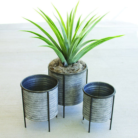 Galvanized Metal Planters with Iron Bases - Cece & Me - Home and Gifts