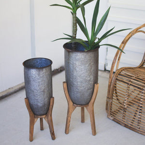 Galvanized Urns On Wood Bases (Set of 2) - Cece & Me - Home and Gifts