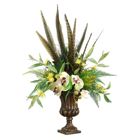 Phalaenopsis Orchid/Feather/Protea in Garden Urn Green Brown - Cece & Me - Home and Gifts