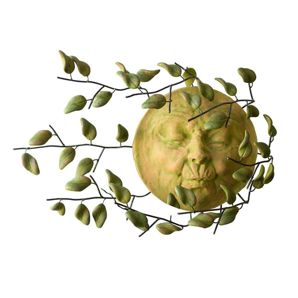 Garden Wind Blown Sun Face With Clay Leaves Wall Hanging