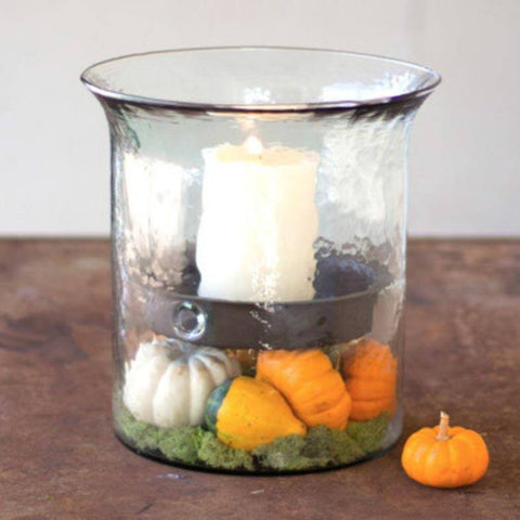 Giant Glass  Candle Cylinder with Metal Insert - Cece & Me - Home and Gifts