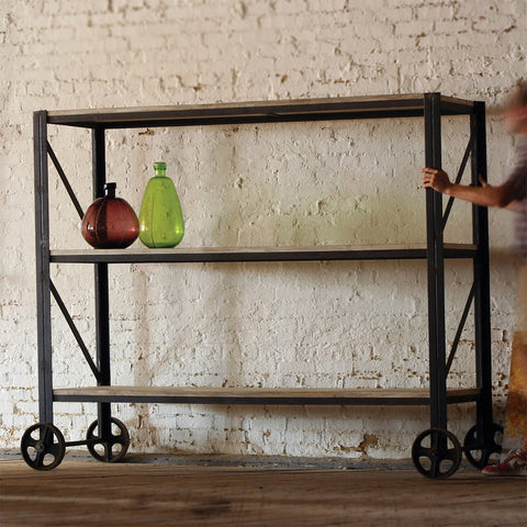 Giants Wood and Iron Rolling Shelving Unit - Cece & Me - Home and Gifts