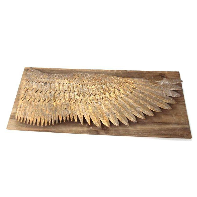 Gilt Metal Angel Wing On Rustic Wood Plaque - Cece & Me - Home and Gifts