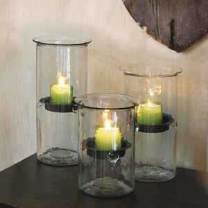 Glass Candle Cylinder with Rustic Insert - Cece & Me - Home and Gifts