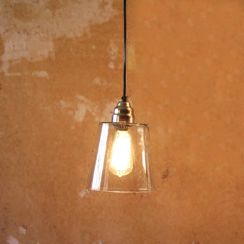 Image of Glass Pendant Lamp with Brushed Silver Cap and Canopy - Cece & Me - Home and Gifts
