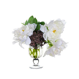Peony/Sedum in Glass Vase White Black - Cece & Me - Home and Gifts