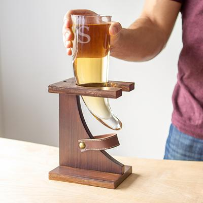 Personalized Glass Viking Beer Horn with Rustic Stand - Cece & Me - Home and Gifts