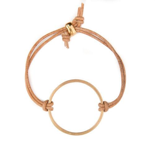 Gold Circle Cutout on Leather Bracelet