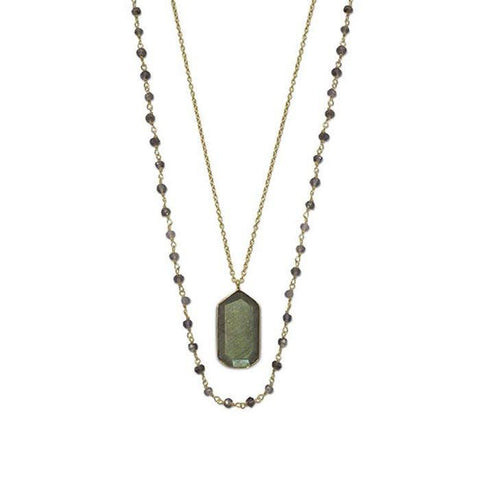 Double Strand 14 Karat Gold Plated with Iolite and Labradorite - Cece & Me - Home and Gifts