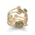 14 Karat Gold Plated Polki Diamond and Labradorite Multi-row Stacked Ring - Cece & Me - Home and Gifts